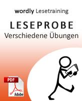 Leseprobe wordly Lesetraining: Verschiedene Übungen